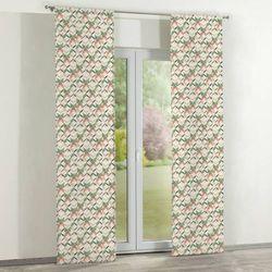 Dekoria Zasłony panelowe 2 szt., zielone, brązowo- beżowe fale na tle ecru, 60 x 260 cm, Urban Jungle