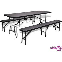 vidaXL Składany stół ogrodowy z 2 ławkami, HDPE, czarny, 180 cm