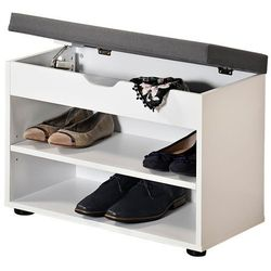 Kesper Biała szafka na buty z siedziskiem, funkcjonalne siedzisko do przedpokoju i regał na buty w jednym