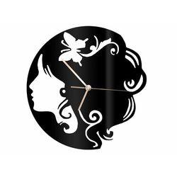 Zegar z pleksi na ścianę Twarz kobiety ze złotymi wskazówkami