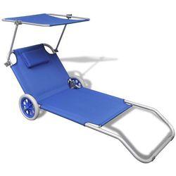 Vidaxl składany leżak z zadaszeniem i kółkami, aluminiowy, niebieski (8718475905202)