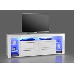Szafka RTV GLOB 3 biała 180/40/67 cm z LED