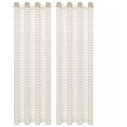 Tkane zasłony w paski, 2 szt., 140 x 175 cm, kremowe