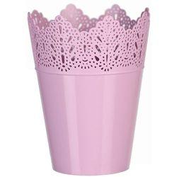 Osłona plastikowa na doniczkę Koronka 15 cm, różowy