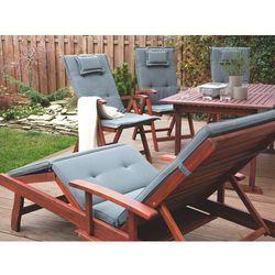 Beliani Krzesło ogrodowe drewniane poducha grafitowa toscana (4260586359466)
