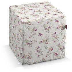Dekoria Pufa kostka twarda, fioletowo-różowe kwiaty na kremowym tle, 40x40x40 cm, Mirella