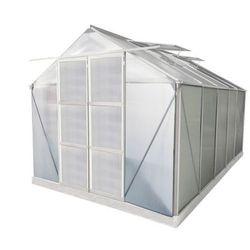 Szklarnia ogrodowa z poliwęglanu 9 m² COROLLE II z podstawą - aluminium