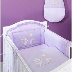 MAMO-TATO pościel 3-el Wesołe zajączki w fiolecie do łóżeczka 60x120cm