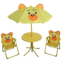 Happy green  dziecięcy zestaw kempingowy bear - parasol, stolik, 2 krzesełka