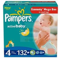 Pampers  active baby pieluchy 4 maxi 132szt pieluszki mega box karton