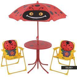 Selsey zestaw ogrodowy biedronki stolik z dwoma krzesełkami i parasolem (5903025284064)