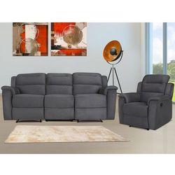 Sofa 3+1-osobowa typu relaks SIMONO z mikrofibry– Kolor antracytowy