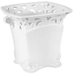 Osłonka doniczki kwadratowa wewnętrzna koronka 18 cm biała, 47.007.18