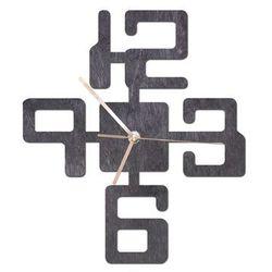 Drewniany zegar na ścianę Duże cyfry ze złotymi wskazówkami