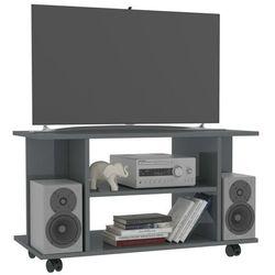 vidaXL Szafka pod TV z kółkami, wysoki połysk, szara, 80x40x40 cm (8719883673585)