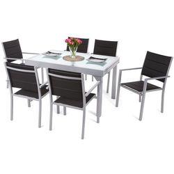 Meble ogrodowe aluminiowe Orlando Silver / Black 6+1 (5902425326381)