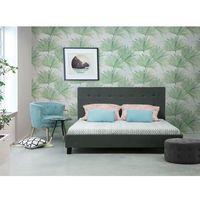 Łóżko ciemnoszare - 160x200 cm - łóżko tapicerowane - stelaż - LA ROCHELLE