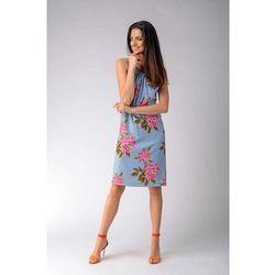 Trapezowa sukienka w kwiaty wiązana na karku, 1 rozmiar