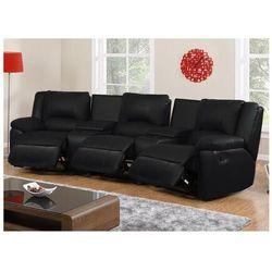 Vente-unique.pl 3-osobowa skórzana sofa z funkcją relaks aroma - czarny