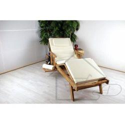 luksusowy leżak z drewna tekowego z regulacją nachylenia i zagłówkiem marki Divero