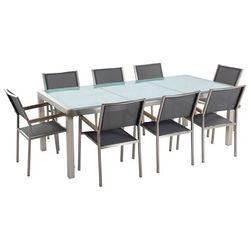 Stół szklany - do ogrodu - 220 cm - z 8 szarymi krzesłami - GROSSETO (4260580927913)