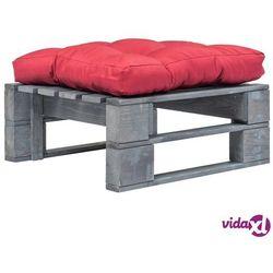 vidaXL Ogrodowe siedzisko z palet, czerwona poduszka, szare drewno FSC