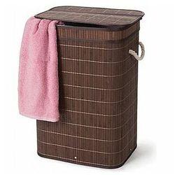 bambusowy kosz na bieliznę ze składaną pokrywą - prostokątny - brązowy marki Perel