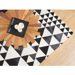 Beliani Dywan czarno-biały 160 x 230 cm skórzany odemis (4260586355185)