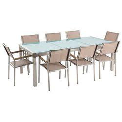 Stół szklany - do ogrodu - 220 cm - z 8 beżowymi krzesłami - grosseto marki Beliani
