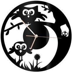 Zegar z pleksi na ścianę Sówka ze złotymi wskazówkami, kolor czarny