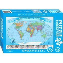 Puzzle edukacyjne. 260 elementów. Mapa polityczna świata + zakładka do książki GRATIS - produkt z kategorii- mapy