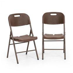 Blumfeldt Burgos Seat krzesło składane 2 szt. HDPE stal technorattan brązowe