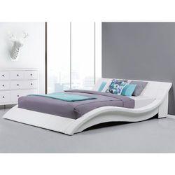 Łóżko wodne 180x200 cm dodatki skórzane białe VICHY