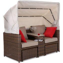 Sofa ogrodowa z baldachimem Michigan Brown / Brown Melange (5902425327388)