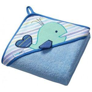 Okrycie kąpielowe Babyono FROTTE 100x100 cm Wieloryb niebieski (5901435404942)