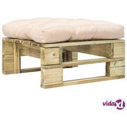 Vidaxl ogrodowy stołek z palet z poduszką w kolorze piasku, drewno fsc (8718475715535)