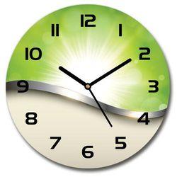 Zegar szklany okrągły Zielona abstrakcja, kolor zielony