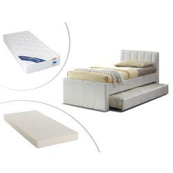 Vente-unique Łóżko wysuwane andrea - 2 × 90 × 190 cm - biały materiał skóropodobny + materac do dostawki + materac zesus 90 × 190 cm