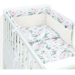 3-el pościel do łóżeczka 70x140 velvet pik - różany ogród / ecru marki Mamo-tato
