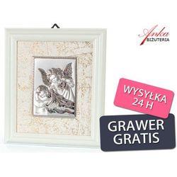 Niewykle subtelny obrazek srebrny w ramce - aniołek z latarenką nad małym aniołkiem :) grawer wyprodukowan