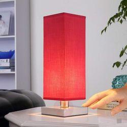 Czerwona lampka nocna Julina z abażurem