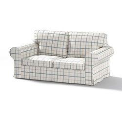 Dekoria Pokrowiec na sofę Ektorp 2-osobową, nierozkładaną, ecru tło, niebieskie kratka, Sofa Ektorp 2-osobowa, Avinon