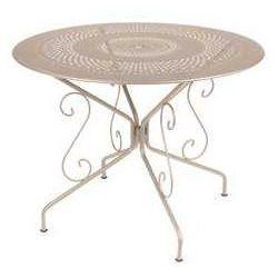Fermob Romantyczny stół ogrodowy ze stali montmartre  beżowy średnica 96 cm
