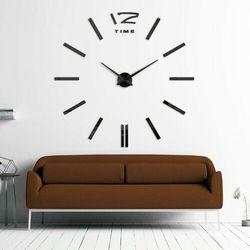 MINIMALISTYCZNY czarny zegar ścienny 3D, kolor czarny