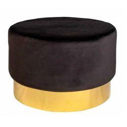 Czarno-złota pufa tapicerowana do salonu - Kobar