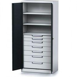 Szafa warsztatowa mechanic, 1950 x 920 x 500 mm, 3 półki, 7 szuflad, antracytowe drzwi marki B2b partner