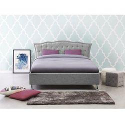 Łóżko szare - 140x200 cm - tapicerowane - ze schowkiem na pościel - METZ (7105272101769)