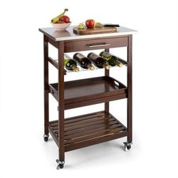 Klarstein vermont wózek kuchenny wózek do serwowania szuflada regał na wino stal szlachetna