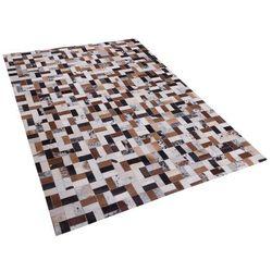 Dywan brązowo-beżowy - 160x230 cm - skórzany - futrzany - CESME