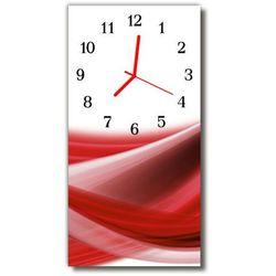 Zegar szklany pionowy abstrakcja linie fale czerwony marki Tulup.pl